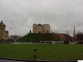 The Eye of York in front of Clifford's Tower and landing site for the Hovercopter